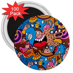 People Face Fun Cartoons 3  Magnets (100 Pack) by Jojostore