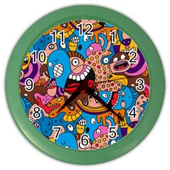 People Face Fun Cartoons Color Wall Clocks by Jojostore
