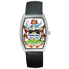 Coat Of Arms Of Antigua And Barbuda Barrel Style Metal Watch by abbeyz71