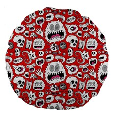Another Monster Pattern Large 18  Premium Flano Round Cushions by Jojostore