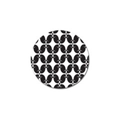 Black Flower Accents Golf Ball Marker