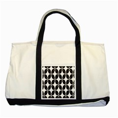 Black Flower Accents Two Tone Tote Bag