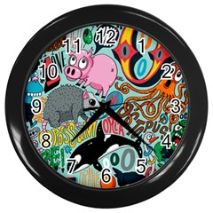 Alphabet Patterns Wall Clocks (black) by Jojostore
