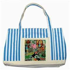 Alphabet Patterns Striped Blue Tote Bag by Jojostore