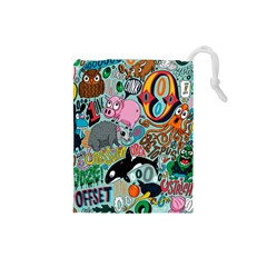 Alphabet Patterns Drawstring Pouches (small)