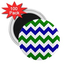 Blue And Green Chevron 2 25  Magnets (100 Pack)
