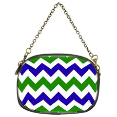 Blue And Green Chevron Chain Purses (one Side)  by Jojostore