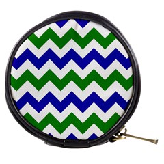 Blue And Green Chevron Mini Makeup Bags by Jojostore