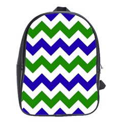 Blue And Green Chevron School Bags(large)