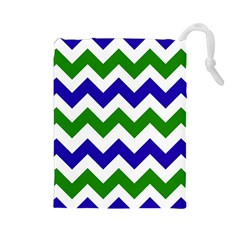 Blue And Green Chevron Drawstring Pouches (large)