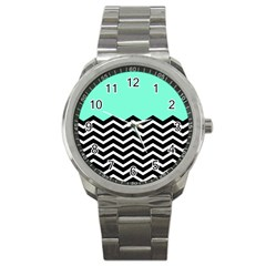 Blue Chevron Sport Metal Watch by Jojostore