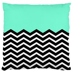 Blue Chevron Large Cushion Case (one Side) by Jojostore