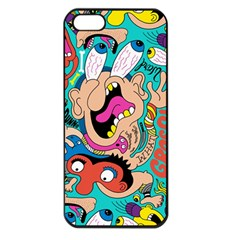 Cartoons Funny Face Patten Apple Iphone 5 Seamless Case (black)