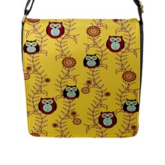 Cheery Owls Yellow Flap Messenger Bag (l)  by Jojostore