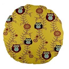 Cheery Owls Yellow Large 18  Premium Flano Round Cushions