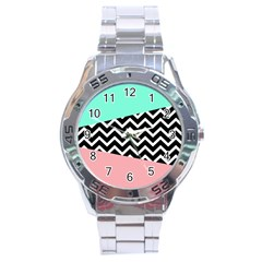 Chevron Green Black Pink Stainless Steel Analogue Watch by Jojostore