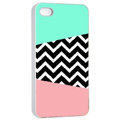 Chevron Green Black Pink Apple Iphone 4/4s Seamless Case (white) by Jojostore