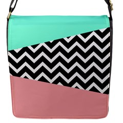 Chevron Green Black Pink Flap Messenger Bag (s) by Jojostore