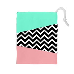 Chevron Green Black Pink Drawstring Pouches (large)  by Jojostore