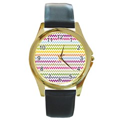 Color Full Chevron Round Gold Metal Watch by Jojostore
