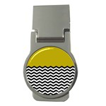 Colorblock Chevron Pattern Mustard Money Clips (Round)  Front