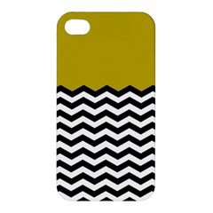 Colorblock Chevron Pattern Mustard Apple Iphone 4/4s Hardshell Case by Jojostore