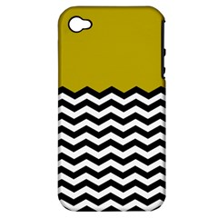 Colorblock Chevron Pattern Mustard Apple Iphone 4/4s Hardshell Case (pc+silicone) by Jojostore