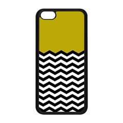 Colorblock Chevron Pattern Mustard Apple Iphone 5c Seamless Case (black) by Jojostore
