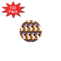 Cute Cat Hand Orange 1  Mini Magnets (100 Pack)  by Jojostore