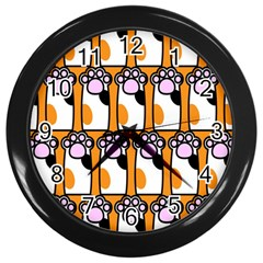 Cute Cat Hand Orange Wall Clocks (black) by Jojostore
