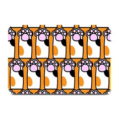 Cute Cat Hand Orange Plate Mats by Jojostore