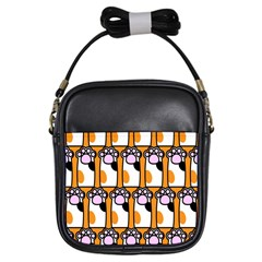 Cute Cat Hand Orange Girls Sling Bags by Jojostore