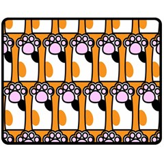 Cute Cat Hand Orange Fleece Blanket (medium)  by Jojostore