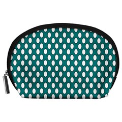 Circular Pattern Blue White Accessory Pouches (large)  by Jojostore