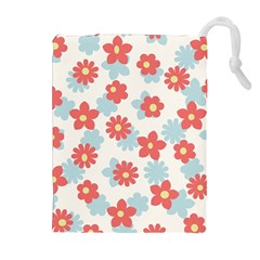 Flower Pink Drawstring Pouches (extra Large)