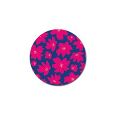 Flower Red Blue Golf Ball Marker