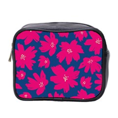 Flower Red Blue Mini Toiletries Bag 2 Side