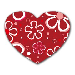 Flower Red Cute Heart Mousepads