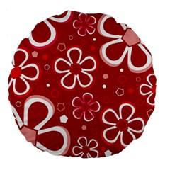 Flower Red Cute Large 18  Premium Flano Round Cushions
