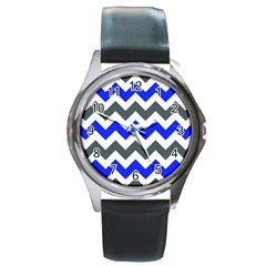 Grey And Blue Chevron Round Metal Watch by Jojostore