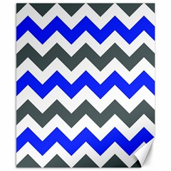 Grey And Blue Chevron Canvas 8  X 10  by Jojostore