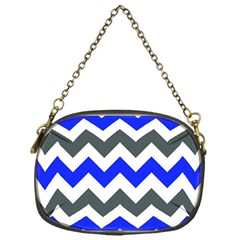Grey And Blue Chevron Chain Purses (one Side)  by Jojostore