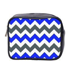 Grey And Blue Chevron Mini Toiletries Bag 2 Side