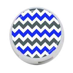 Grey And Blue Chevron 4-port Usb Hub (two Sides)