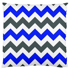Grey And Blue Chevron Large Cushion Case (one Side)