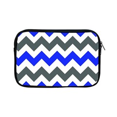 Grey And Blue Chevron Apple Ipad Mini Zipper Cases