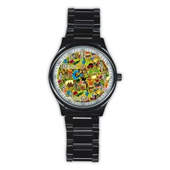 C Pattern Stainless Steel Round Watch
