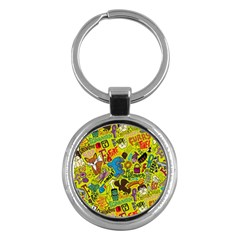 F Pattern Cartoons Key Chains (round)