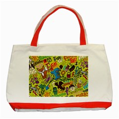 F Pattern Cartoons Classic Tote Bag (red)