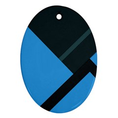 Lines Textur  Stripes Blue Oval Ornament (two Sides) by Jojostore